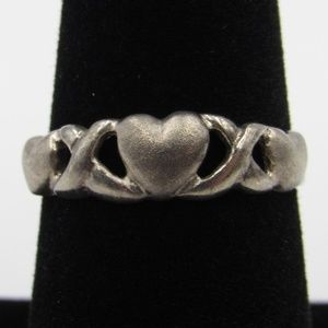Vintage Size 7.5 Sterling Rustic Heart Love Ring
